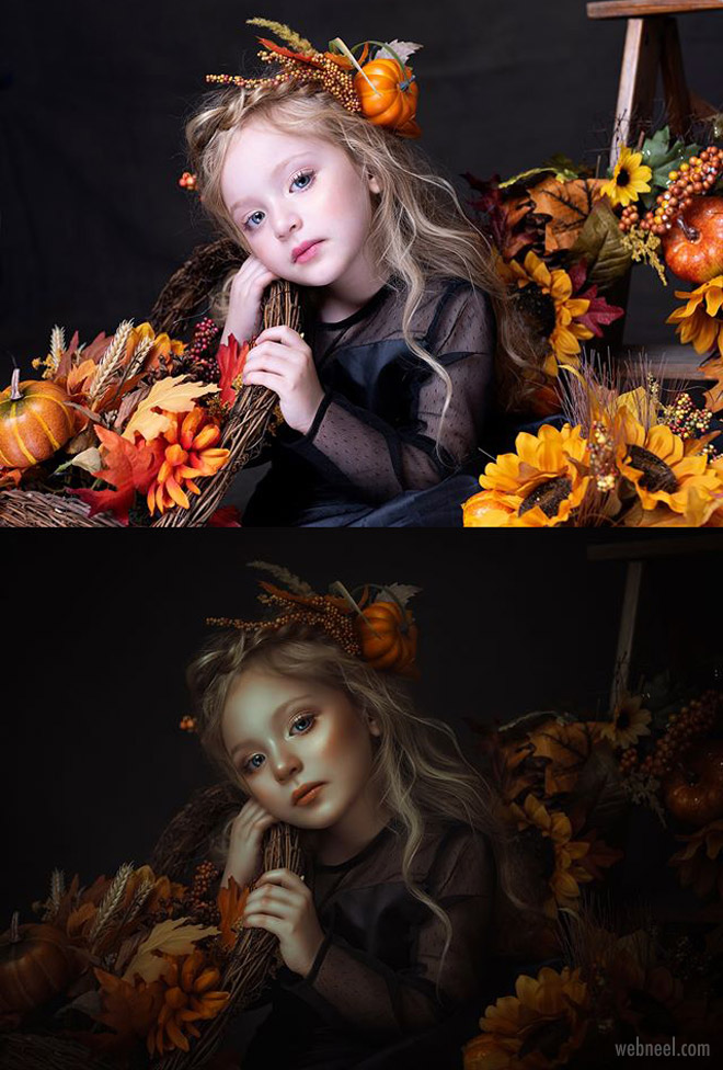photo retouching after before girl by rebecca saray
