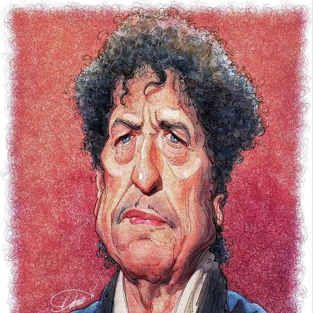caricature illustration bob dylan by stavros damos