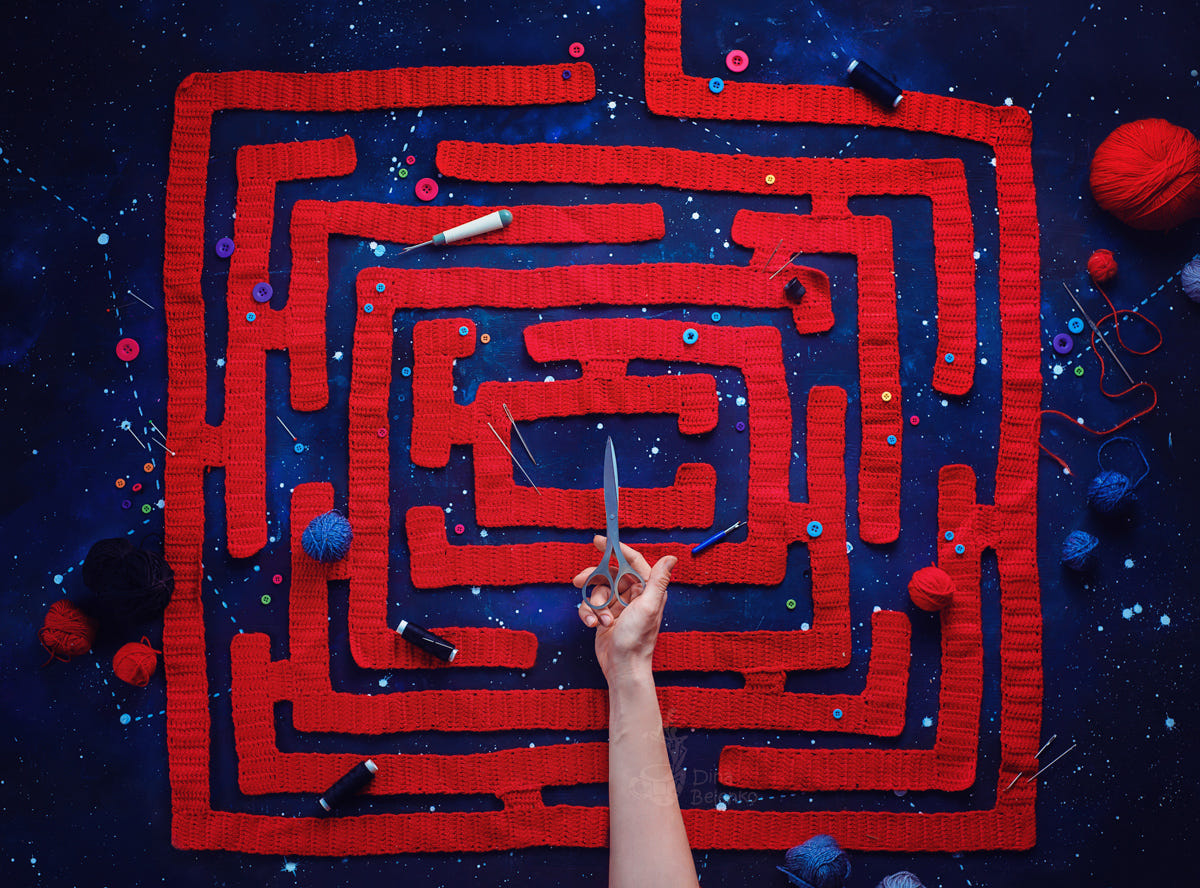 food art advertising idea photo manipulations woollen maze by dina belenko