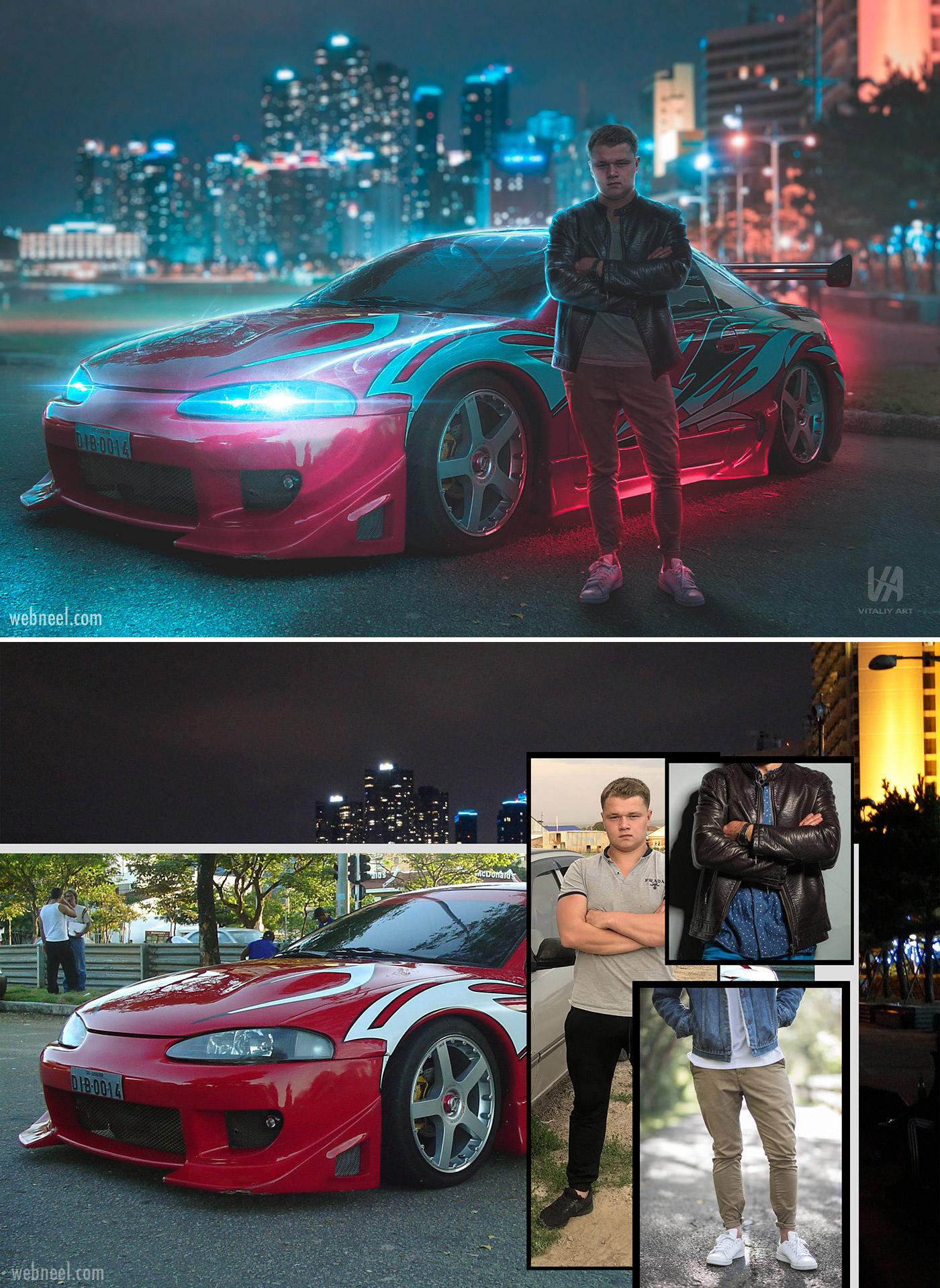 photo retouching after before futuristic neon sci fi man car