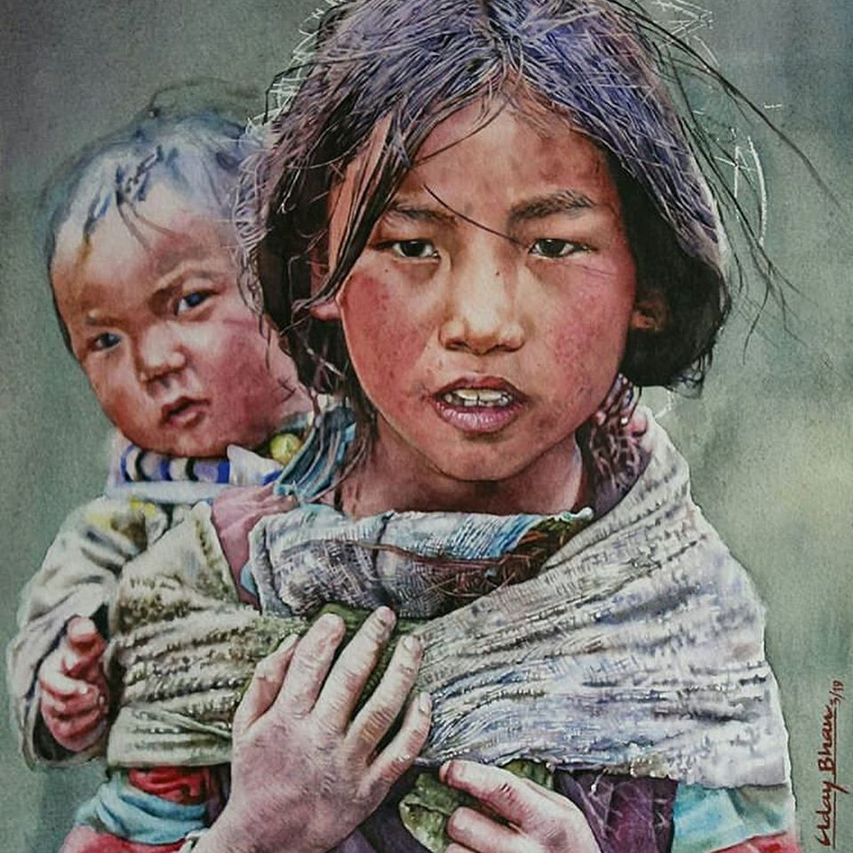 watercolor painting indian