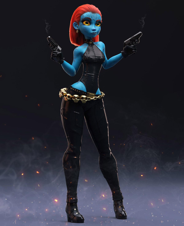3d model girl fighter gun mystique