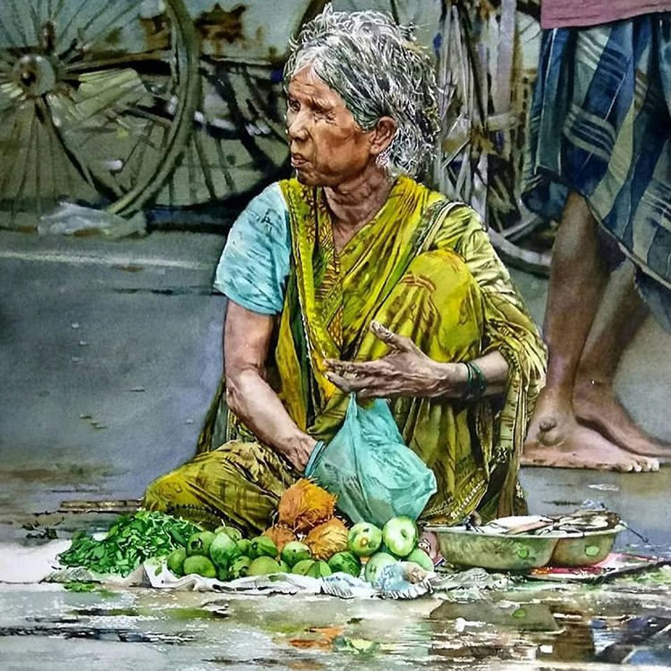 watercolor painting indian by uday bhan