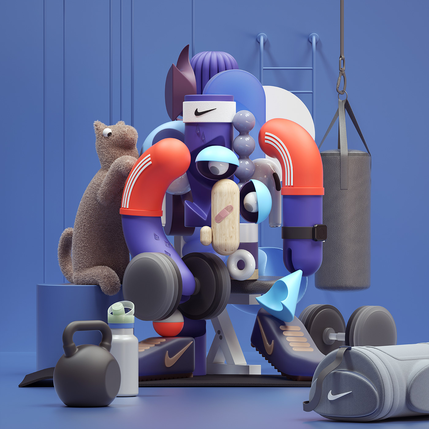 3d model character design picasso painting
