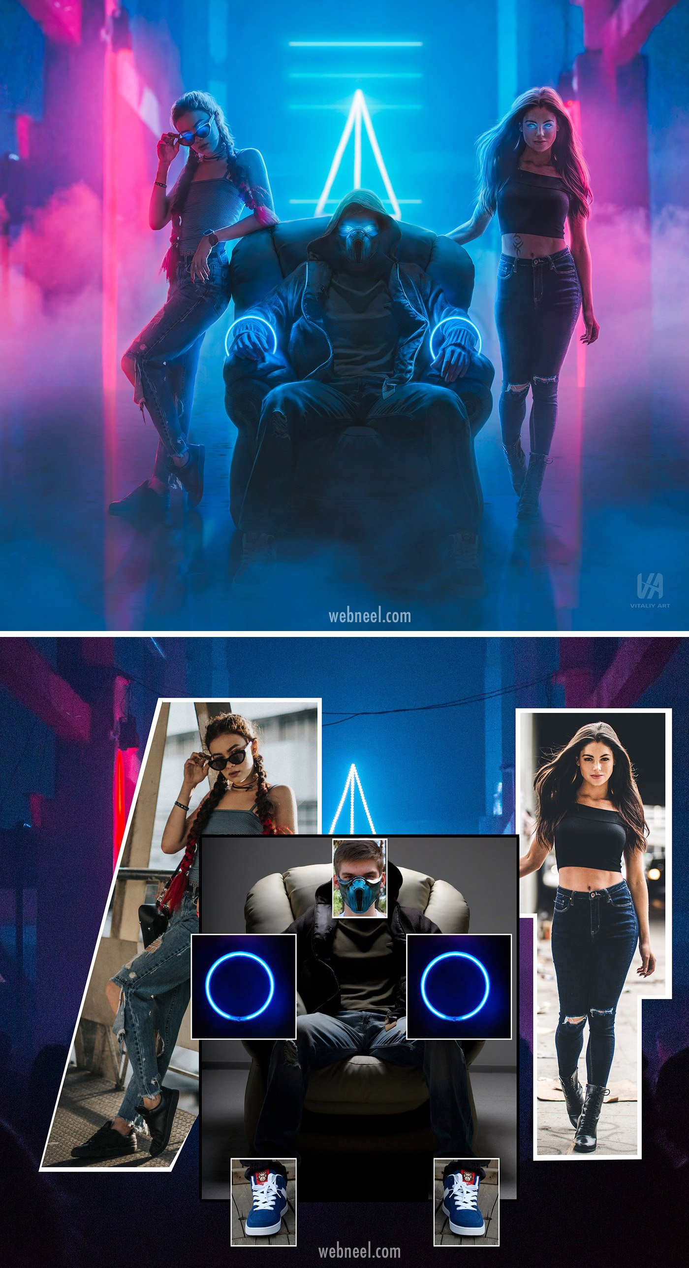 photo retouching after before futuristic neon sci fi girls by vitaliy art