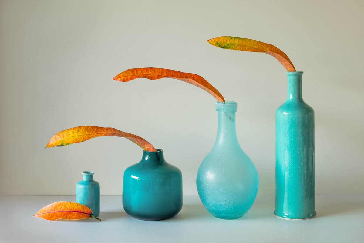 still life photography blue vases