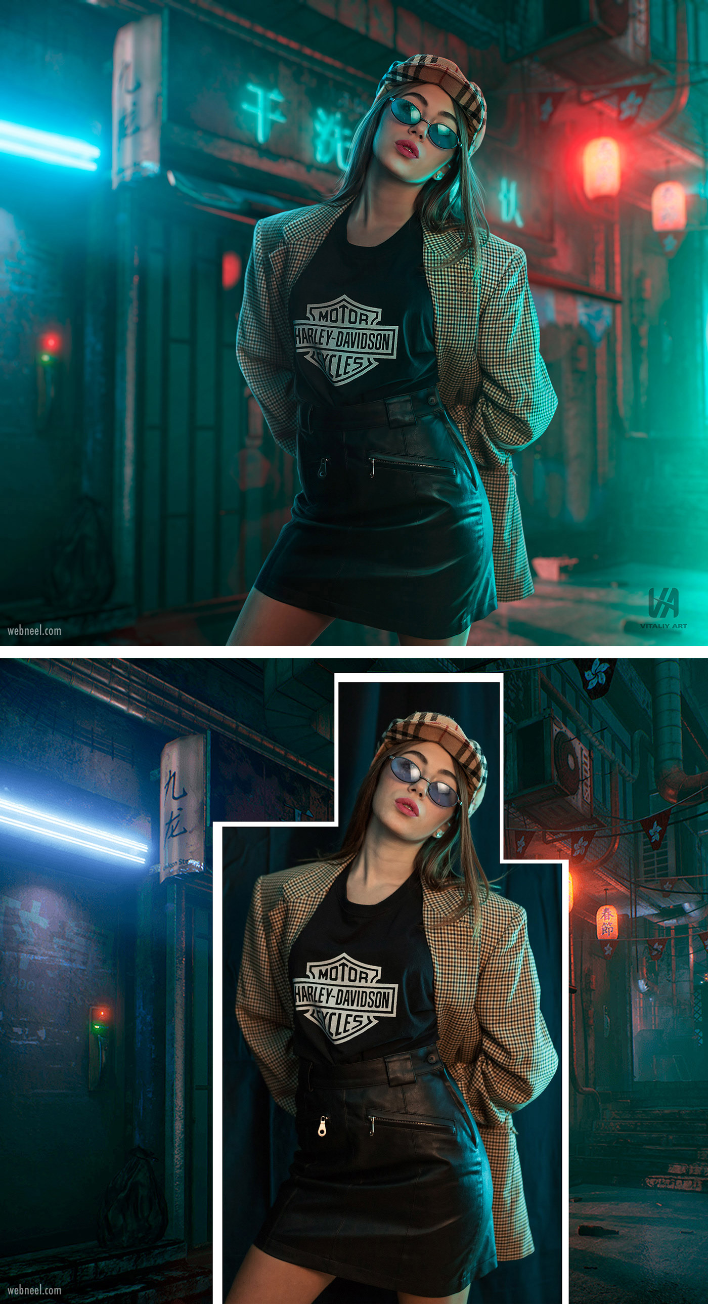 photo retouching after before futuristic neon sci fi girl by vitaliy art