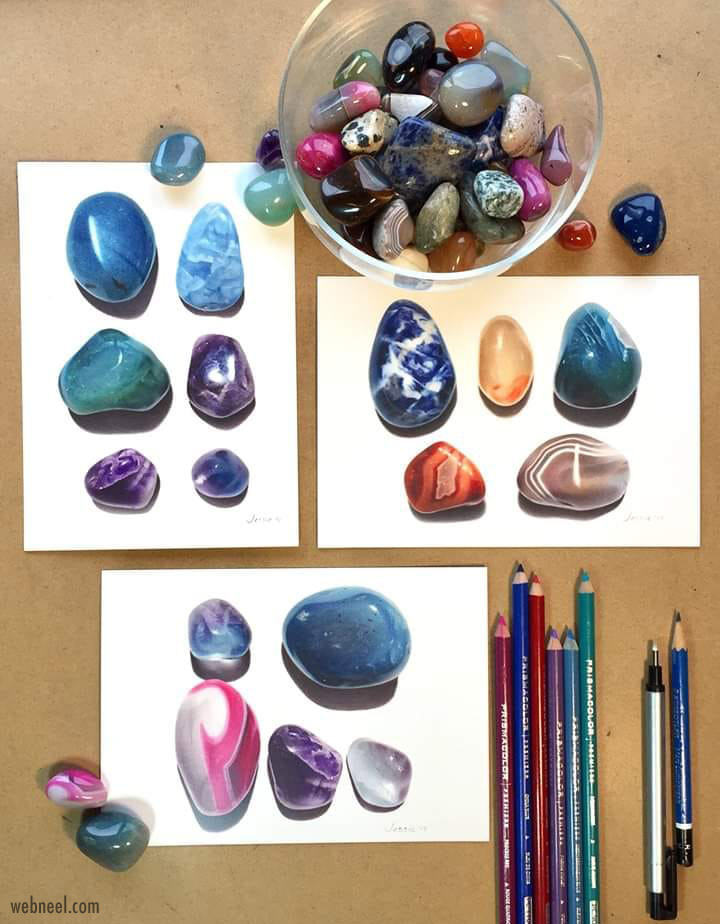 color pencil drawing pebbles by jessie babin