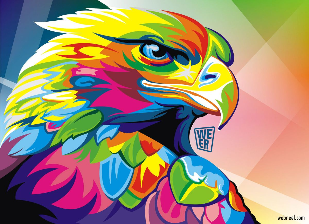 colorful vector illustration eagle by wahyu romdhoni