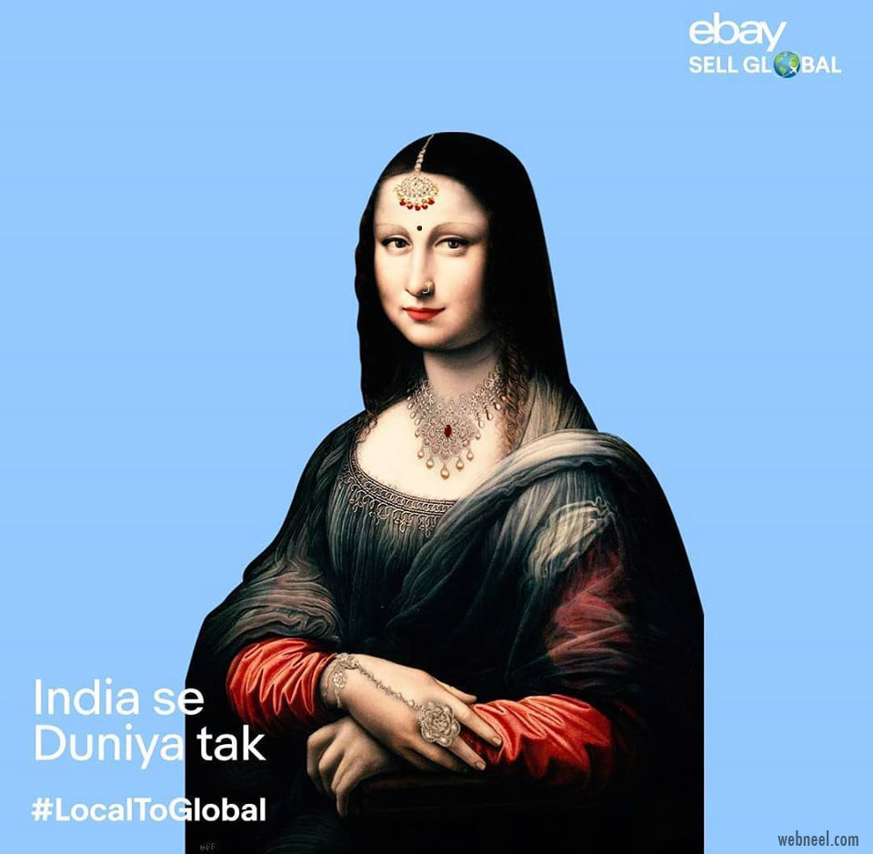 monalisa painting indian woman desi ebay advertising campaign