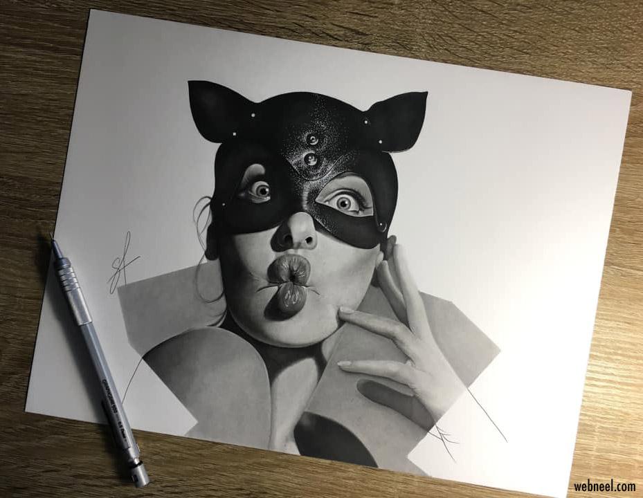 pencil drawing cat woman by maryia shmarlouskaya