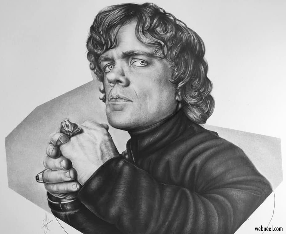 pencil drawing peter dinklage by maryia shmarlouskaya