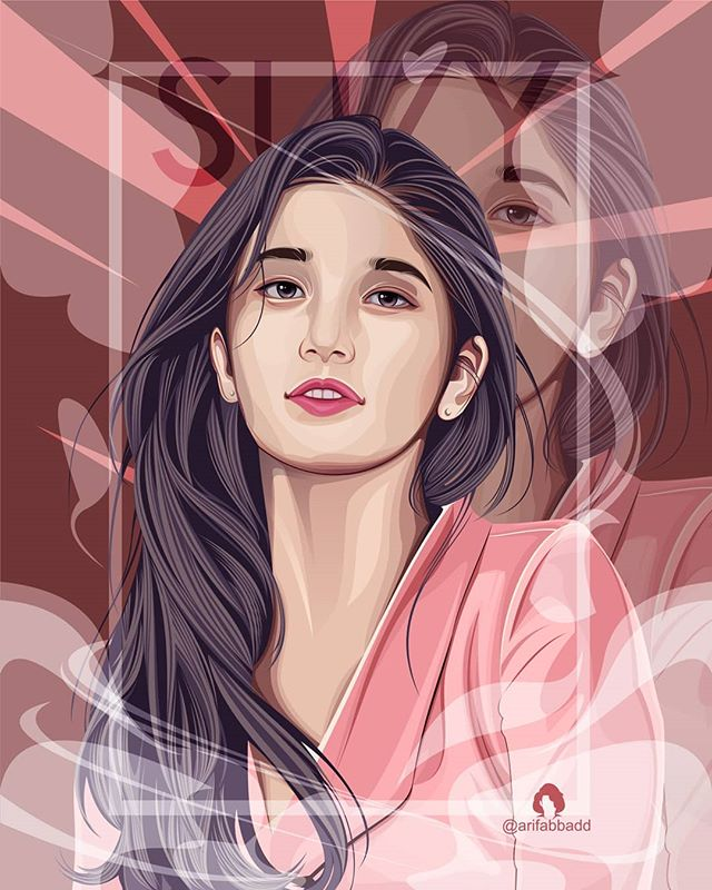 vector illustration portrait girl by arifabbadd