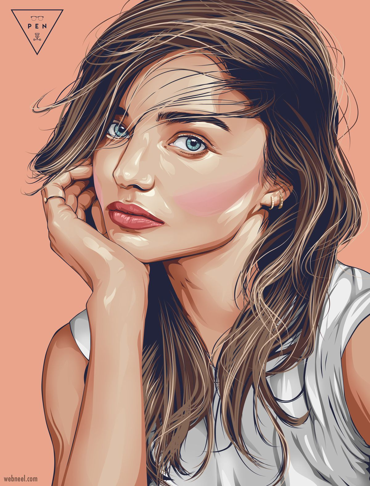 vector illustration miranda kerr by stephin condes