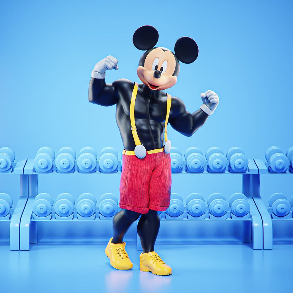 3d cartoon character at gym mickey mouse by mohamed halawany