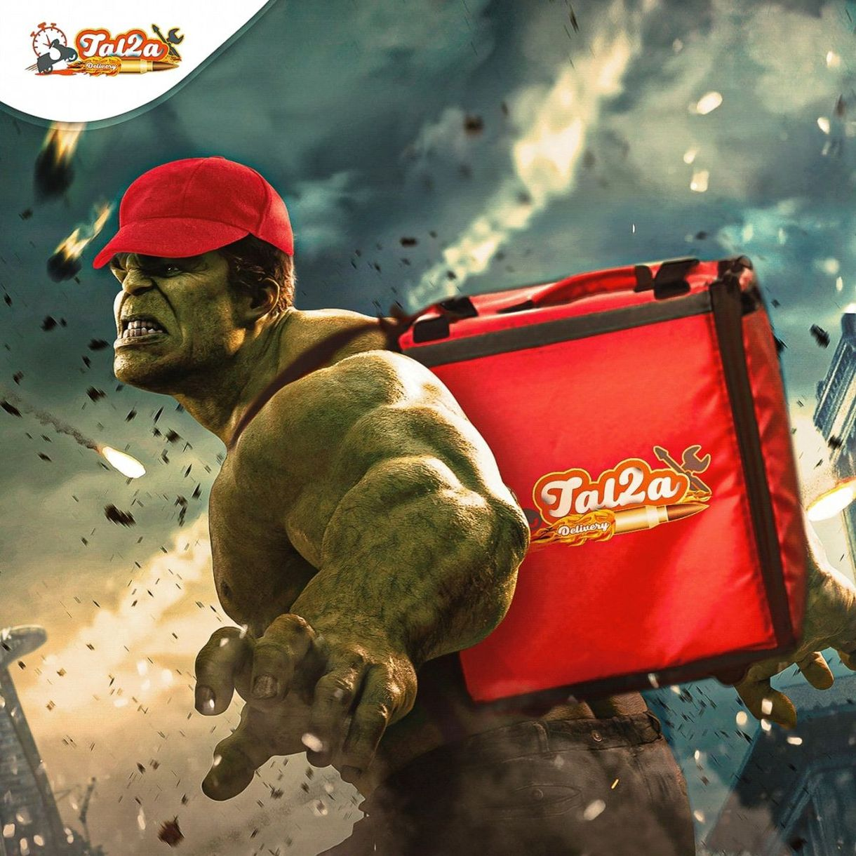 photo manipulation super heroes delivery hulk by mohamed hamdy