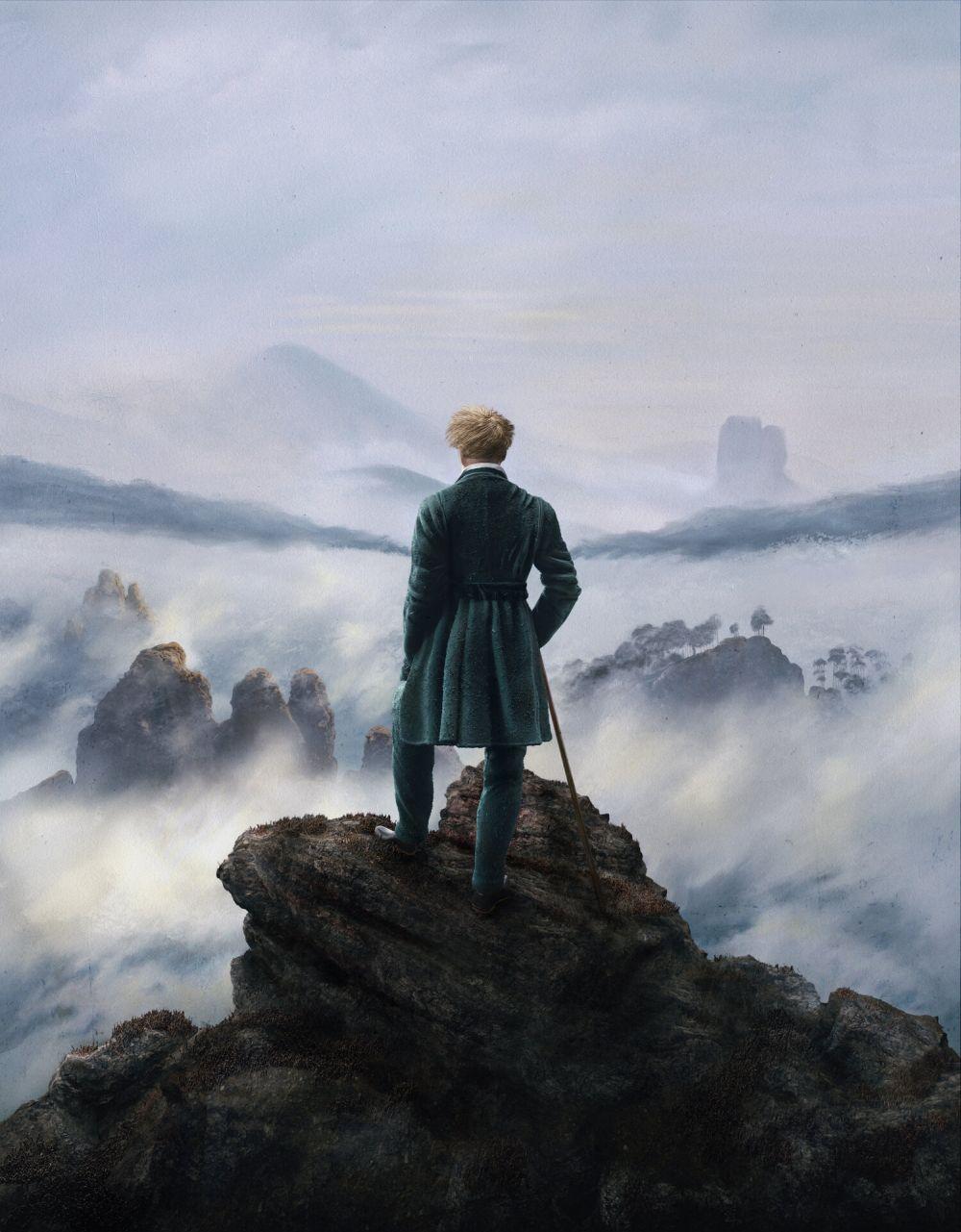 3d model design painting wanderer above the sea of fog