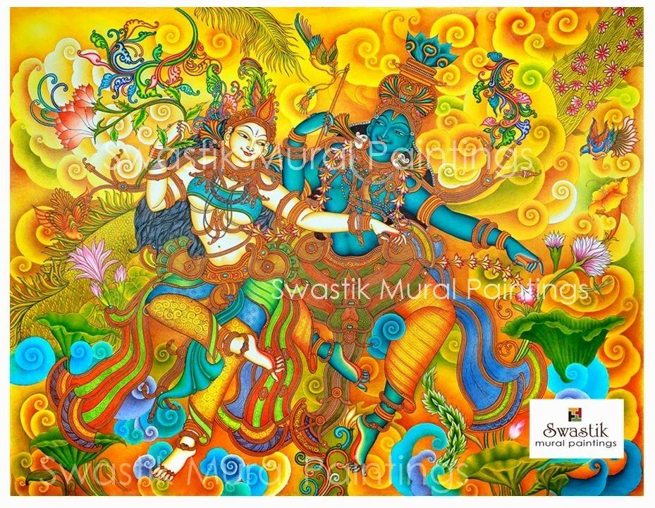 kerala mural painting radha krishna