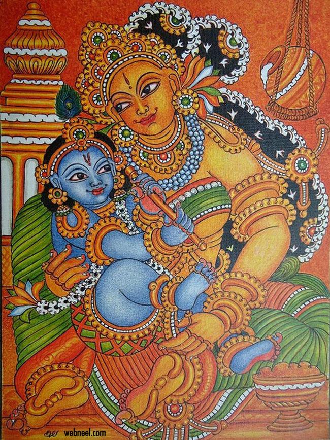 simple kerala mural painting little krishna by devakala