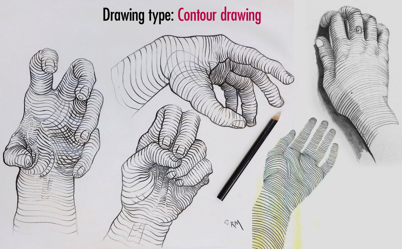 contour drawing type hand