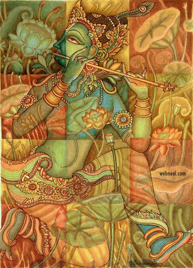 kerala mural painting krishna natural colours