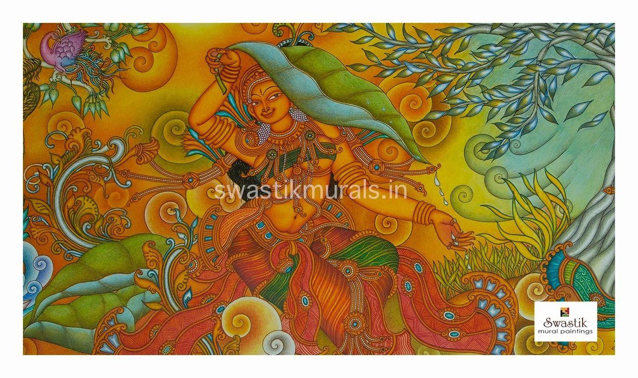 kerala mural painting goddess