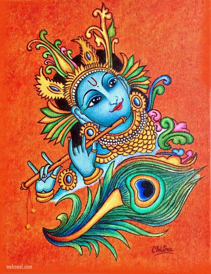 simple easy kerala mural painting krishna