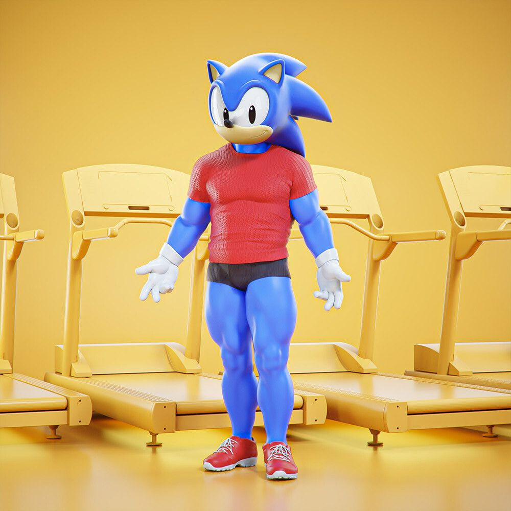3d cartoon character at gym sonic the hedgehog by mohamed halawany