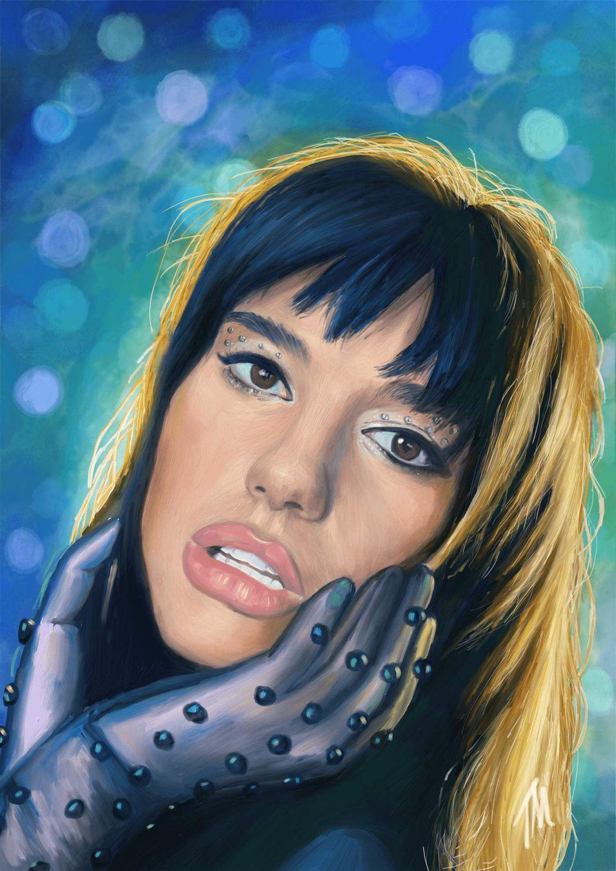 digital portrait painting dua lipa by teresa mcdougal