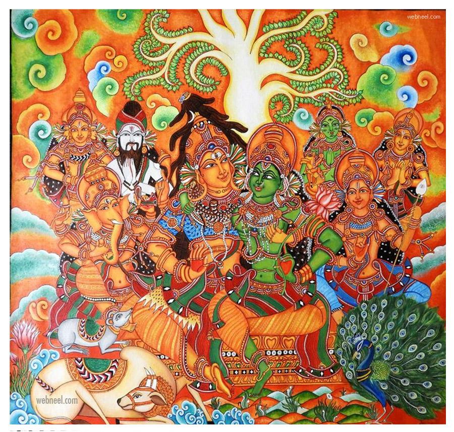 kerala mural painting shiva paarvathi