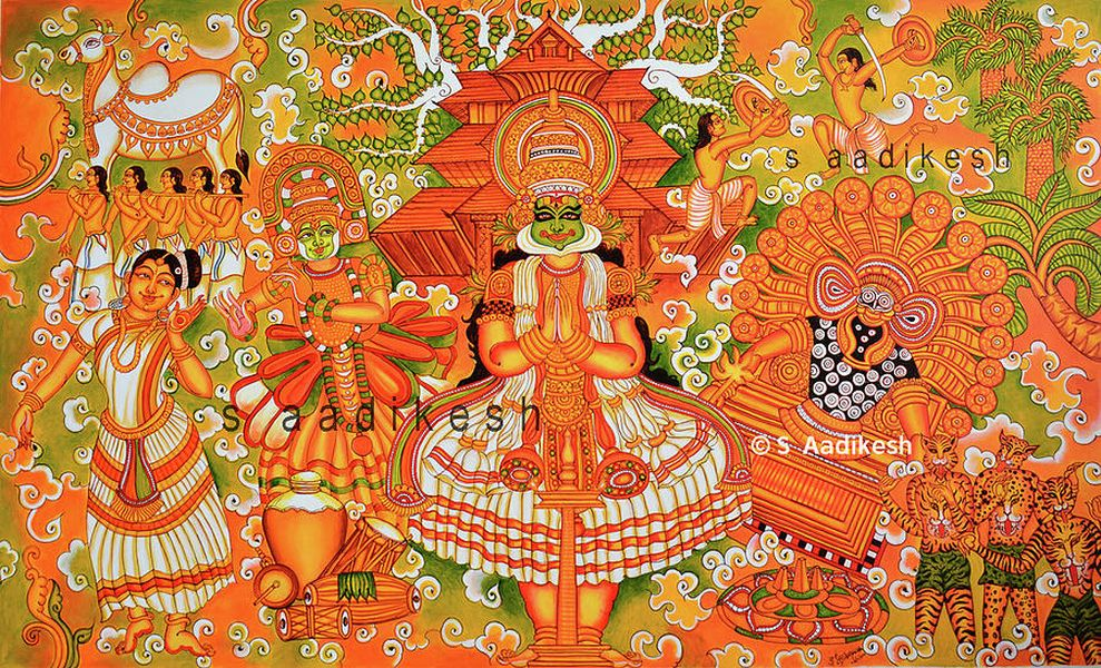 kerala mural painting keraleeyam by aadikesh