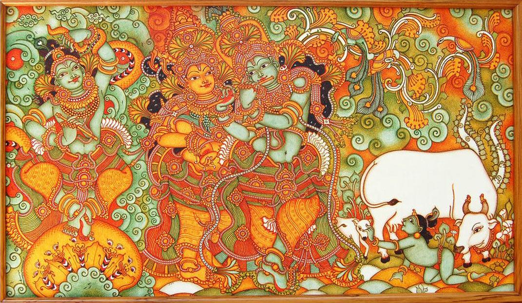 mural painting radha krishna leela