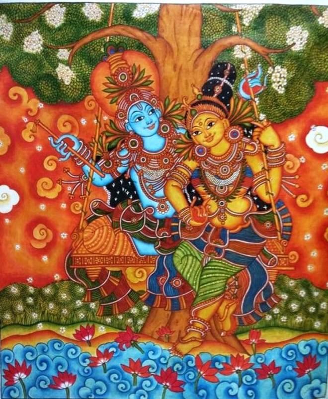 kerala mural painting eternal love