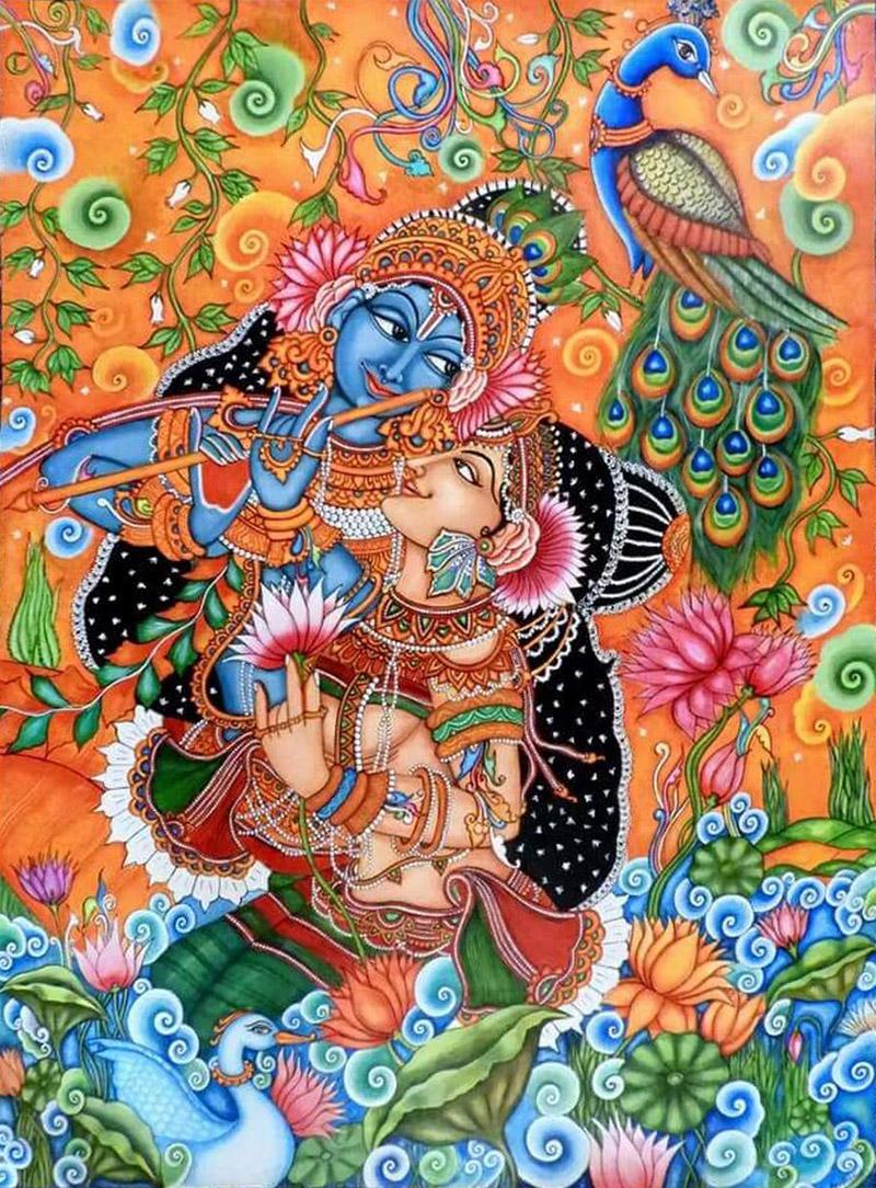 kerala mural painting radha madhavan by devi