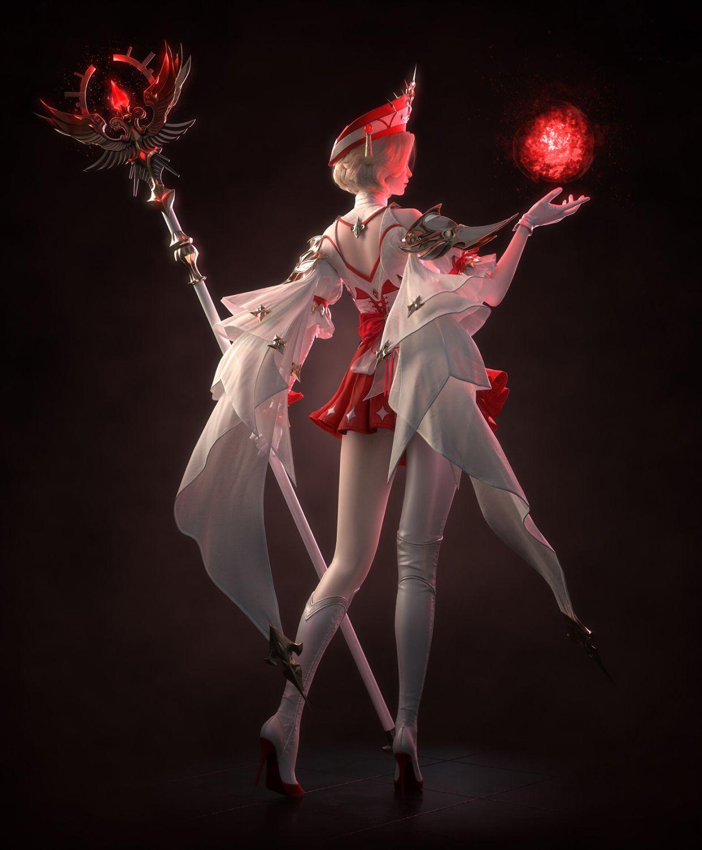 3d game model priest girl back pose