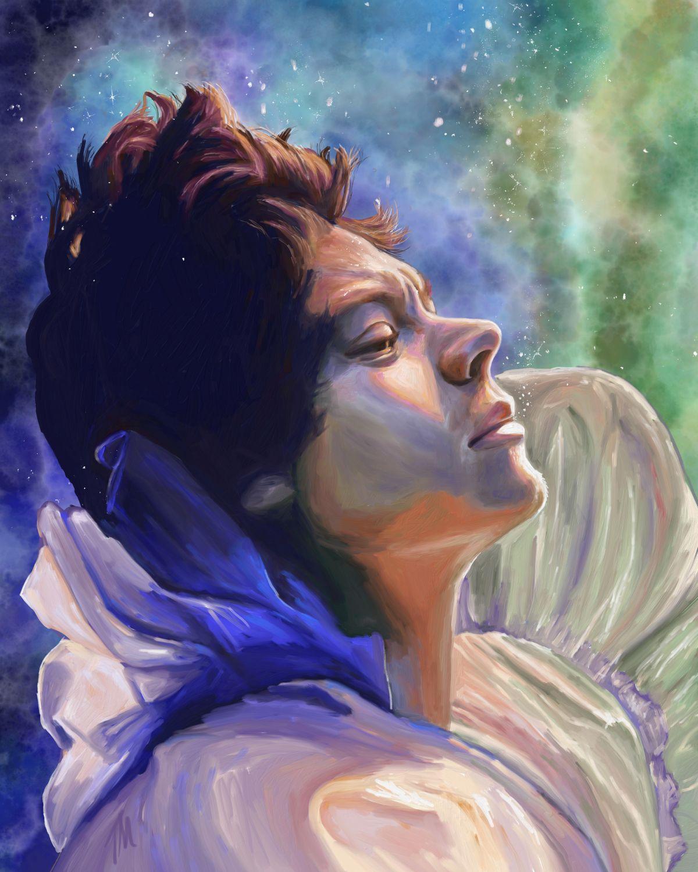 digital painting woman in purple by teresa mcdougal