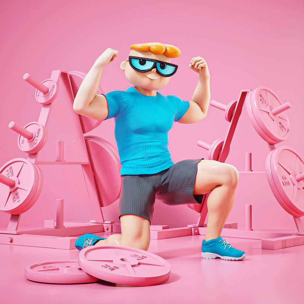 3d cartoon character at gym dexter by mohamed halawany