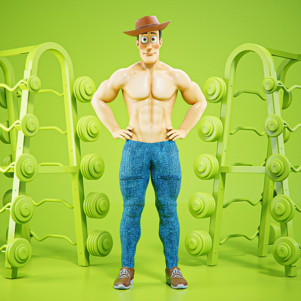 3d cartoon character at gym by mohamed halawany