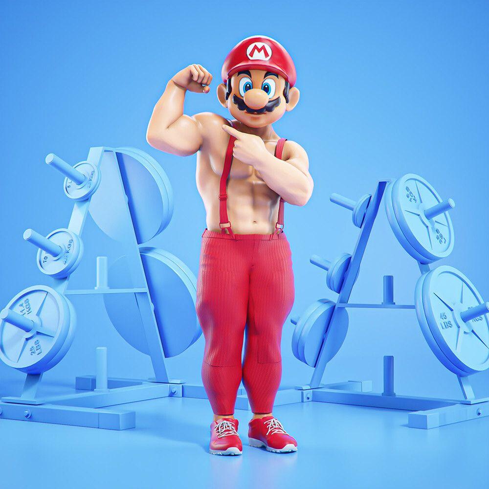 3d cartoon character at gym mario by mohamed halawany