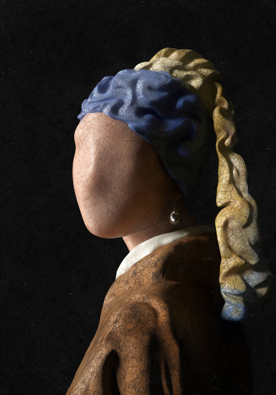 3d model design painting girl with a pearl earring
