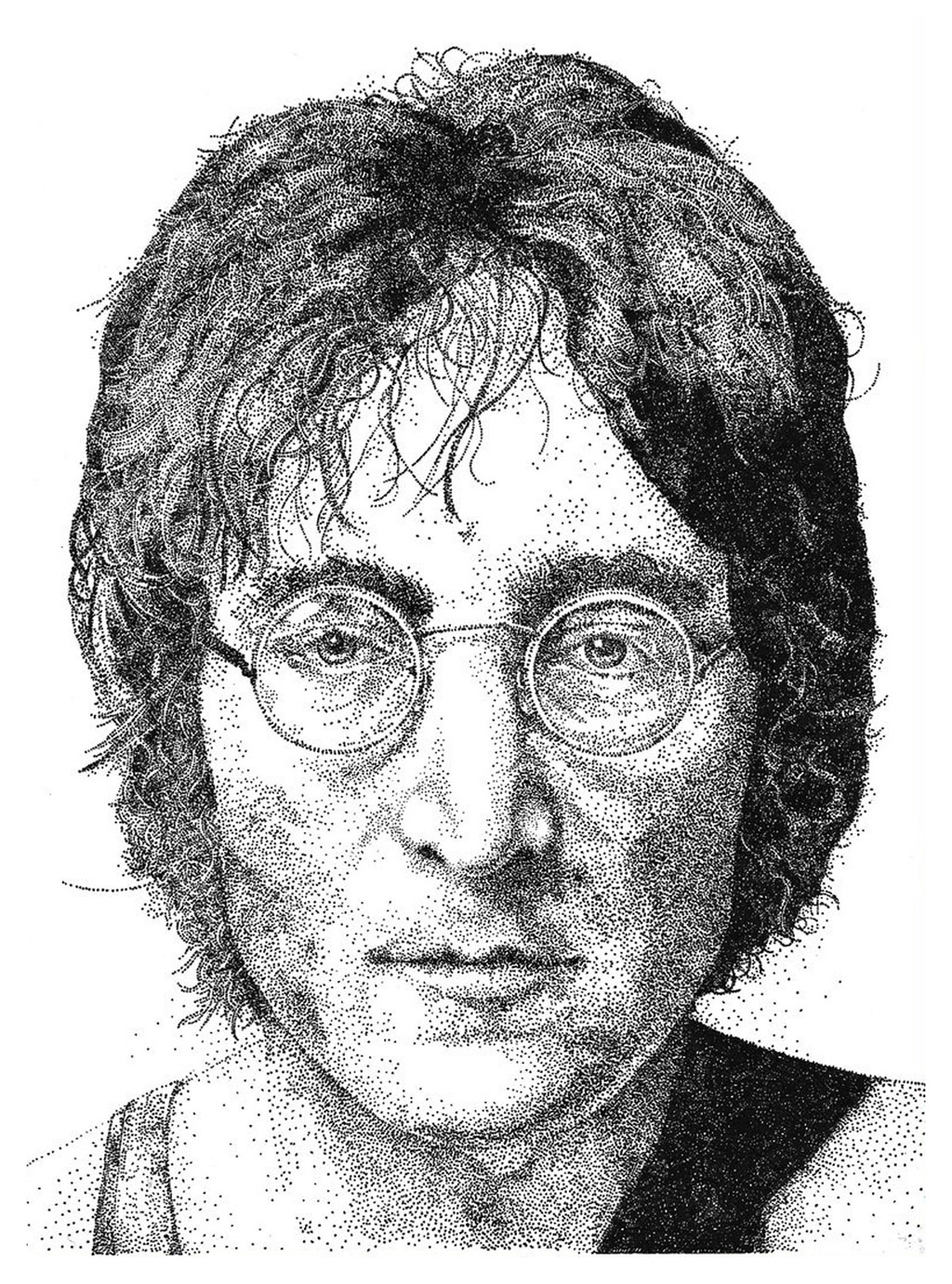 drawing type pointilism john lennon portrait by celciuscreations