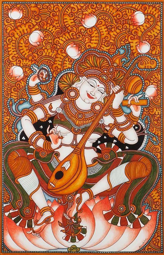 kerala mural painting goddess saraswathi
