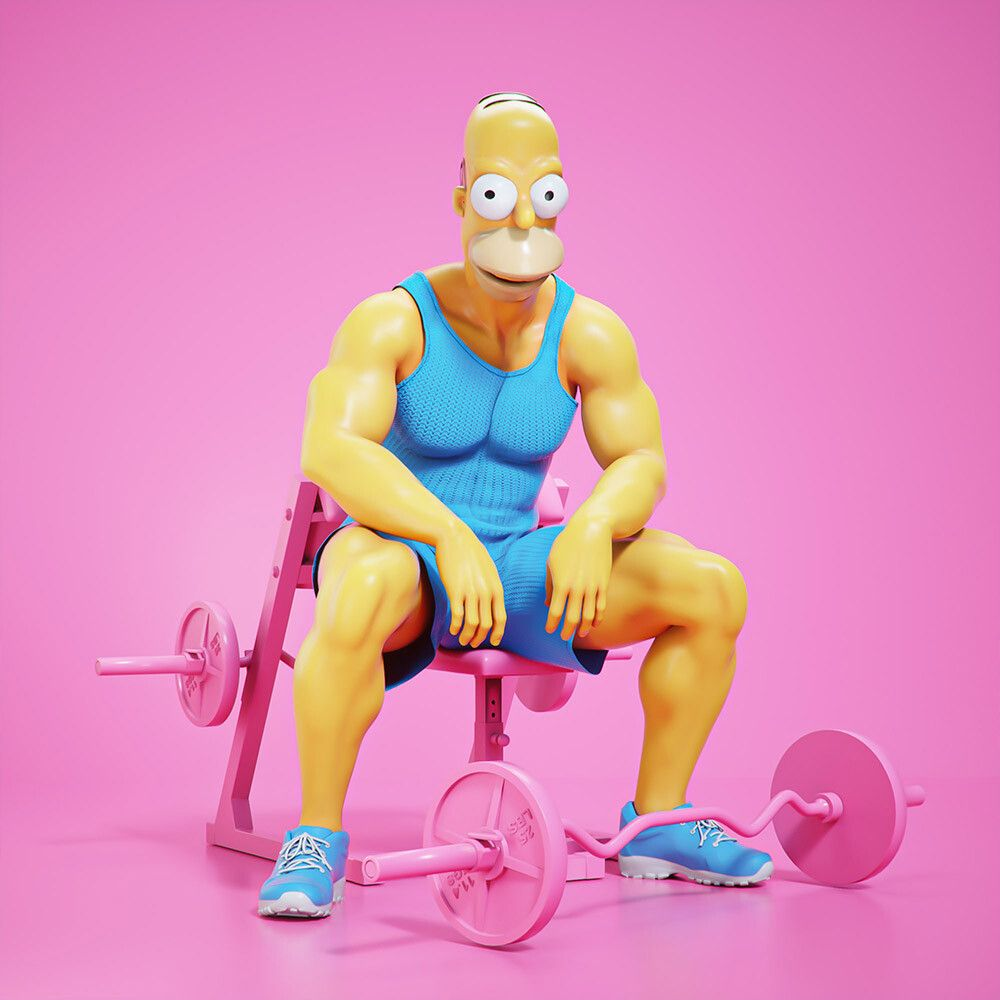 3d cartoon character at gym homer simpson by mohamed halawany
