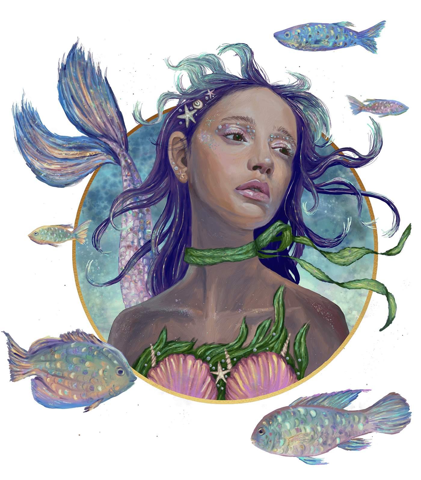digital surreal painting mermaid