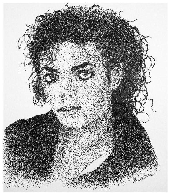 drawing type pointilism michael jackson portrait by enid barnes