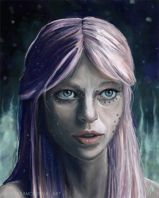 digital portrait painting galaxy girl