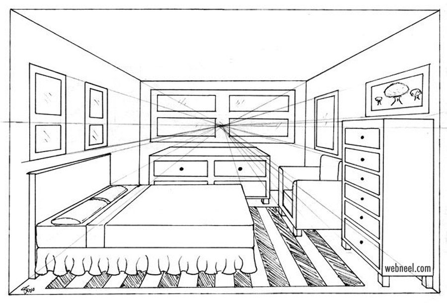 one point prespective drawing home bed room