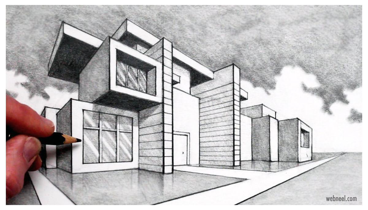 two point perspective drawing house design by circlelineart