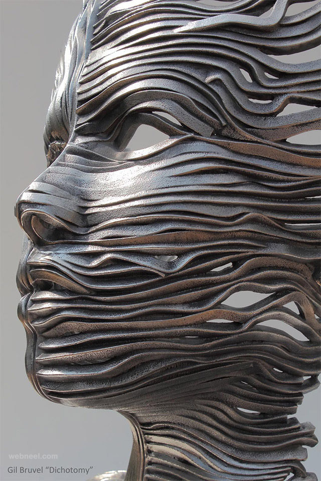 girl face steel scultpure by gil bruvel