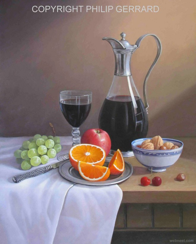 wine fruit still life painting by philip gerrard